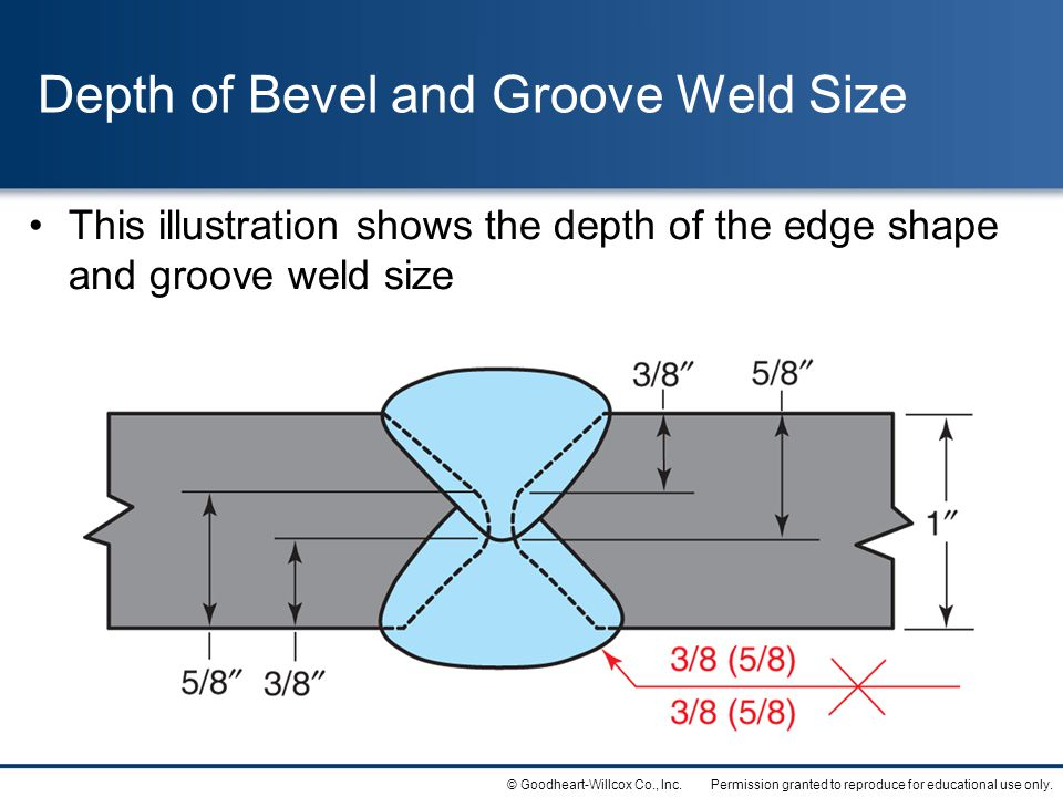 Depth of Bevel and Groove Weld Size