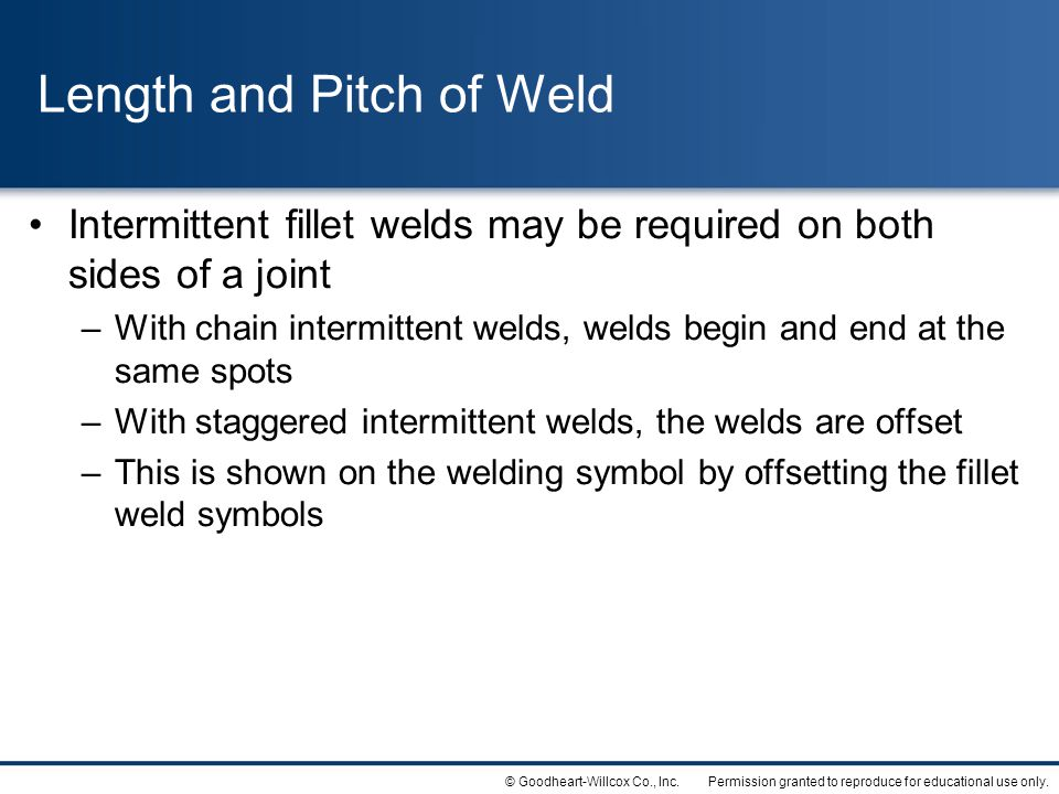 Length and Pitch of Weld