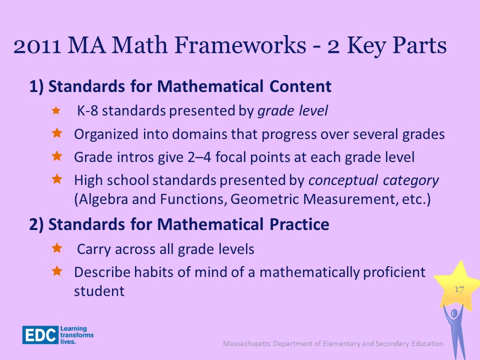 2011 MA Math Frameworks - 2 Key Parts