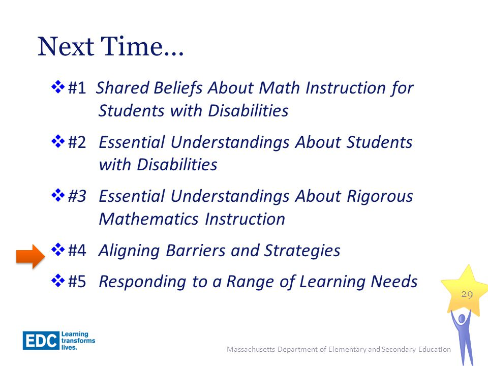 Next Time… #1 Shared Beliefs About Math Instruction for Students with Disabilities.