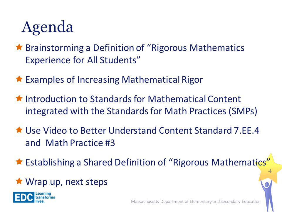 Agenda Brainstorming a Definition of Rigorous Mathematics Experience for All Students Examples of Increasing Mathematical Rigor.