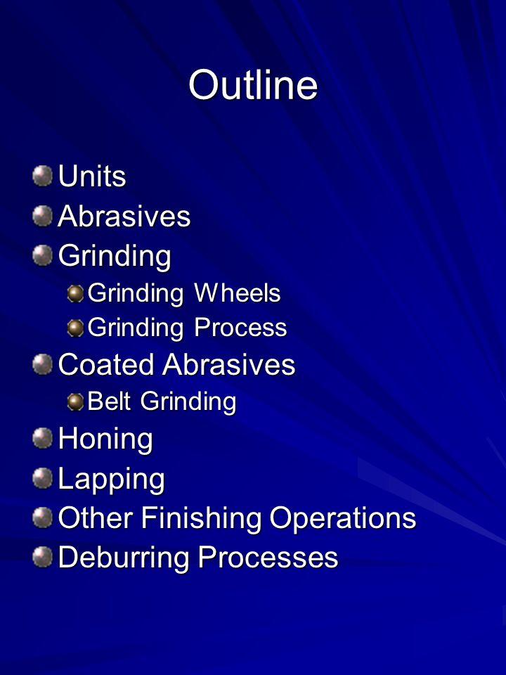 Outline Units Abrasives Grinding Coated Abrasives Honing Lapping