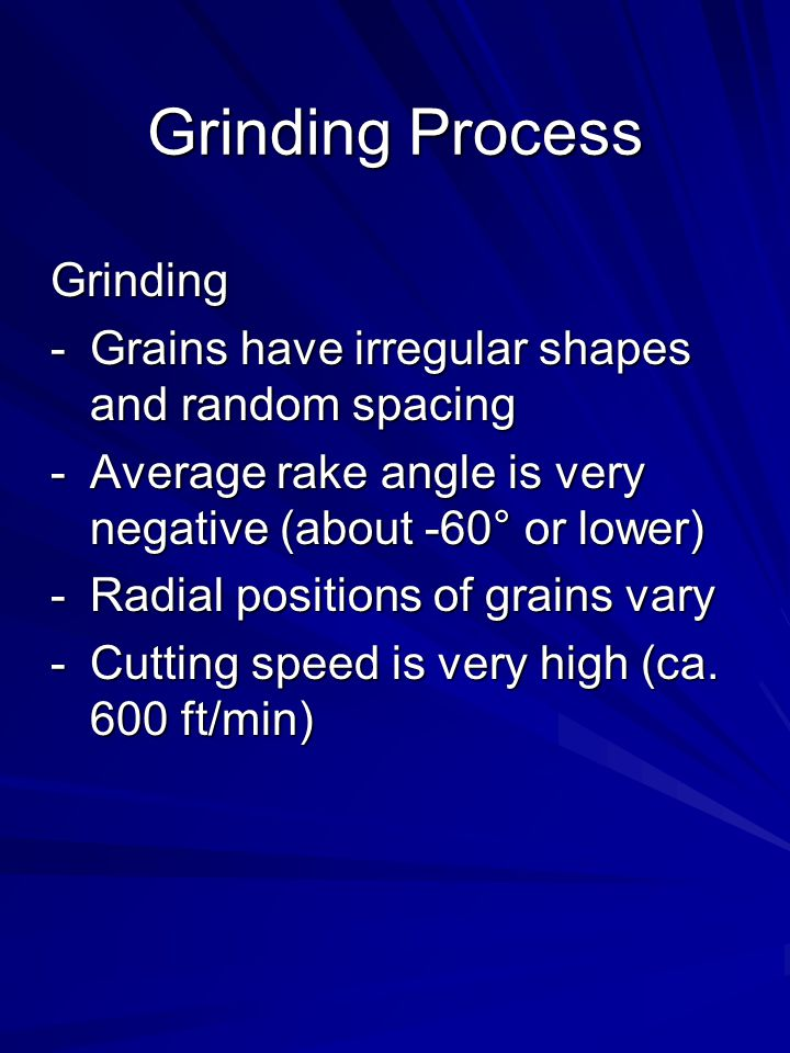 Grinding Process Grinding