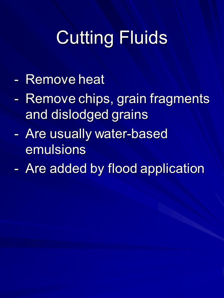 Cutting Fluids Remove heat