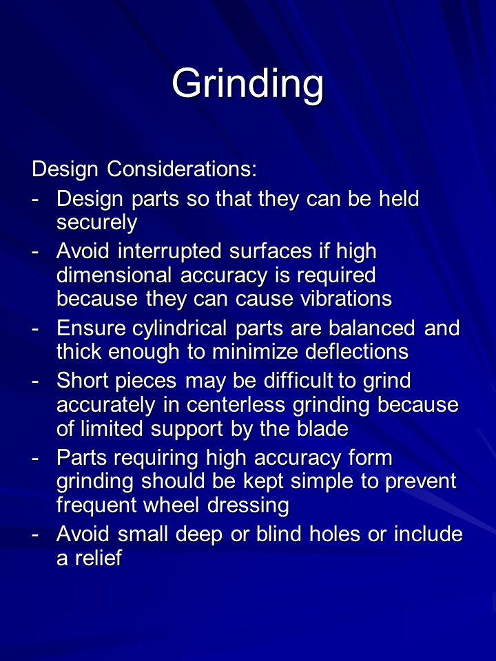 Grinding Design Considerations: