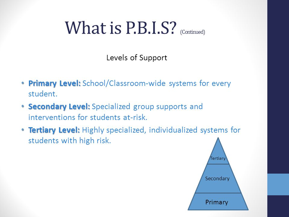 What is P.B.I.S (Continued)