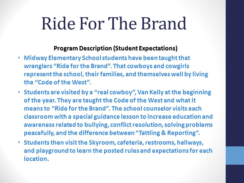 Program Description (Student Expectations)