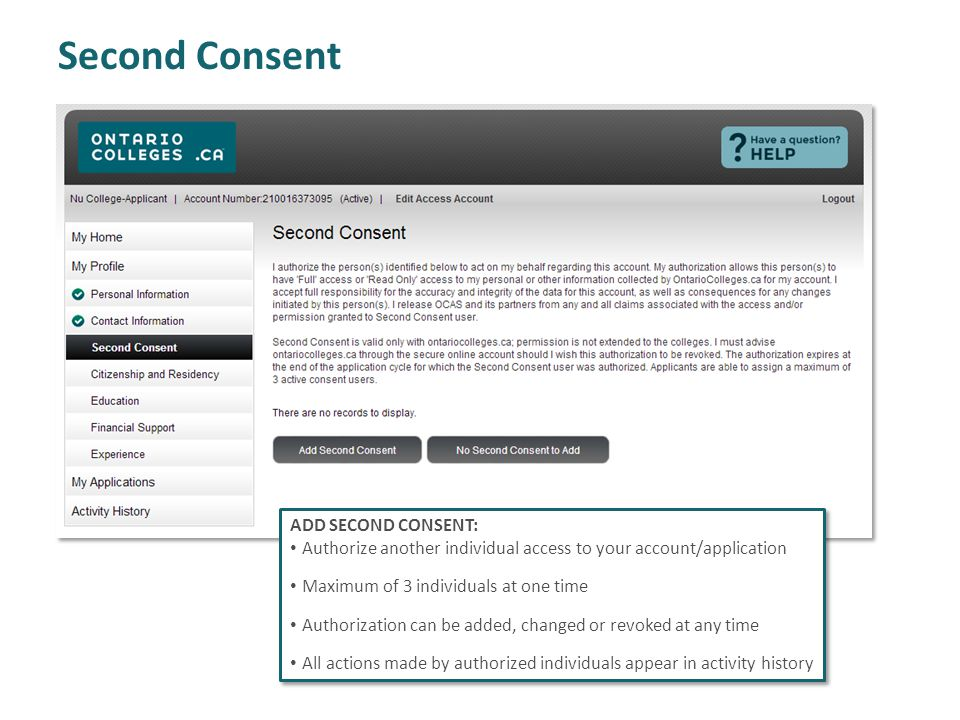 Second Consent ADD SECOND CONSENT: