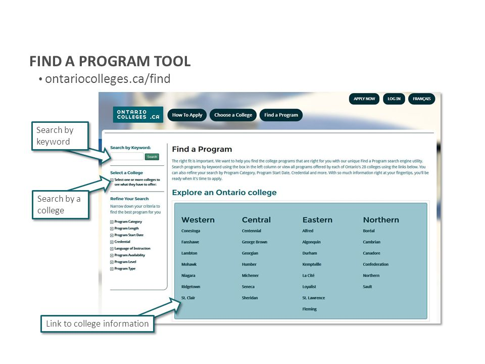 FIND A PROGRAM TOOL ontariocolleges.ca/find Search by keyword