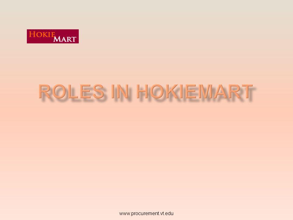 Roles in HokieMart www.procurement.vt.edu