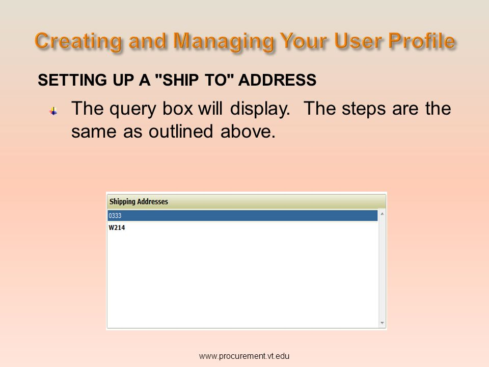 Creating and Managing Your User Profile
