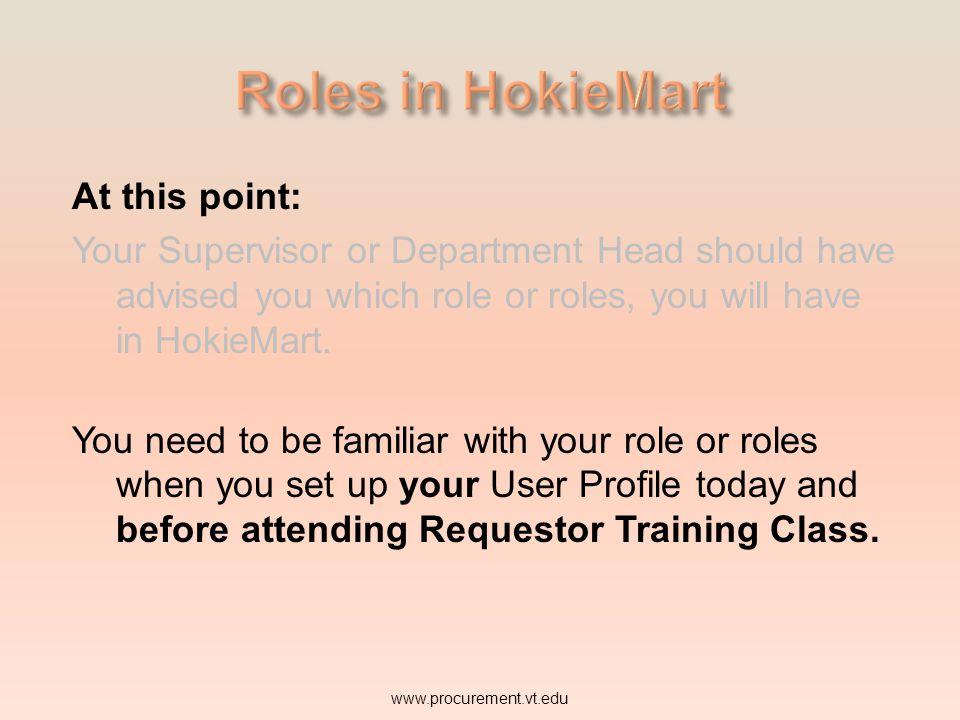 Roles in HokieMart