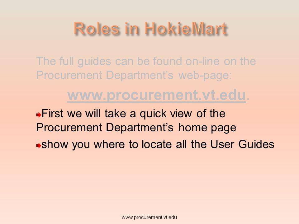 Roles in HokieMart www.procurement.vt.edu.