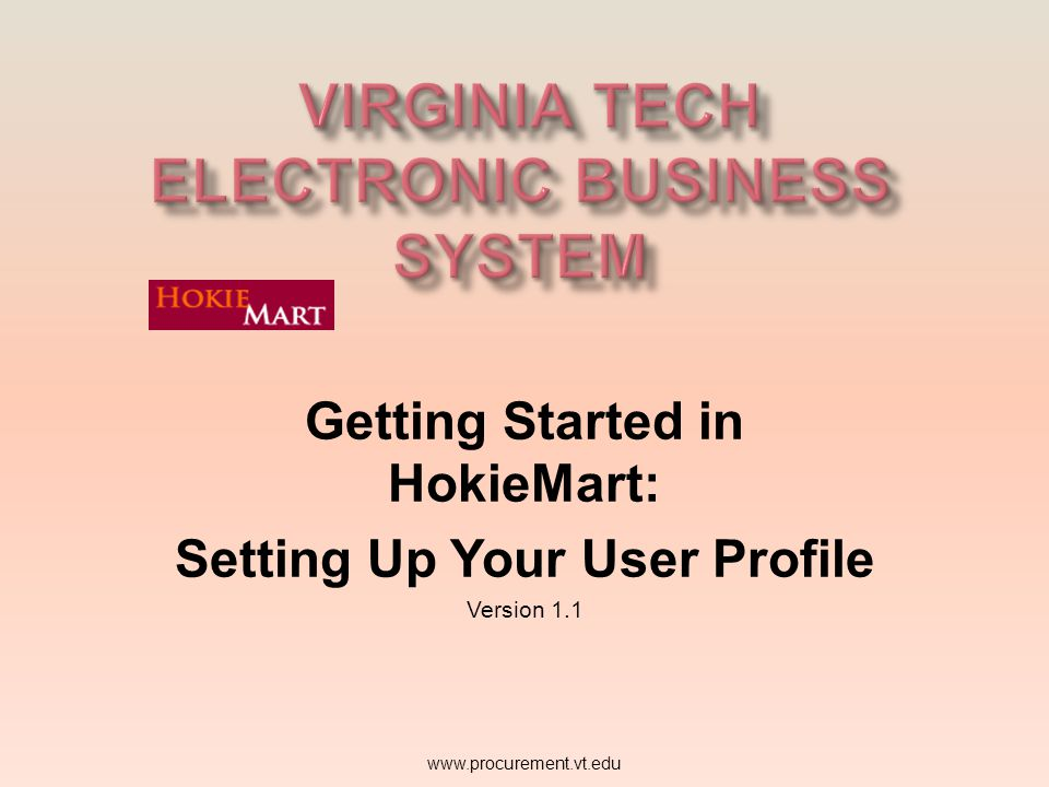 Virginia Tech Electronic Business System