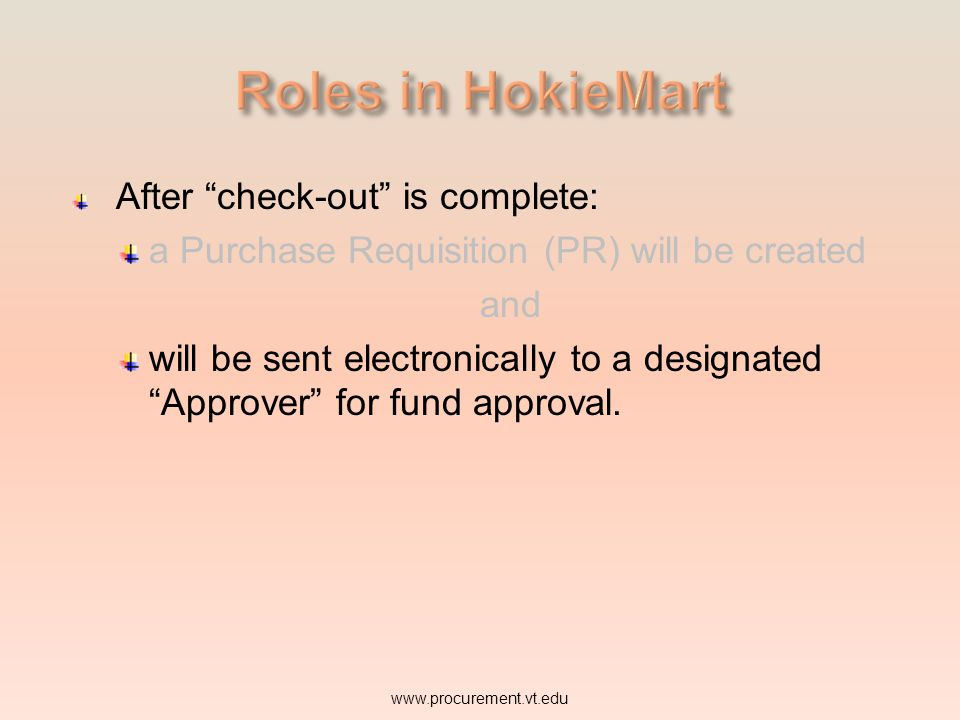 Roles in HokieMart After check-out is complete: