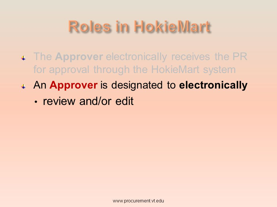 Roles in HokieMart review and/or edit