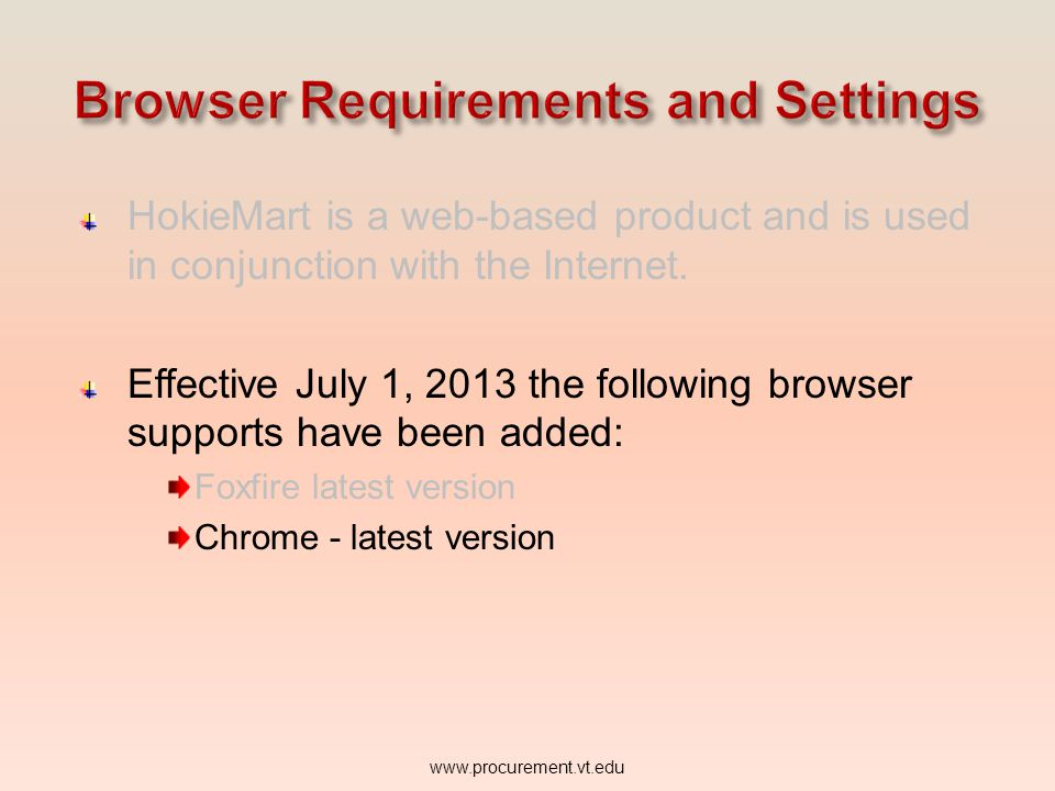 Browser Requirements and Settings