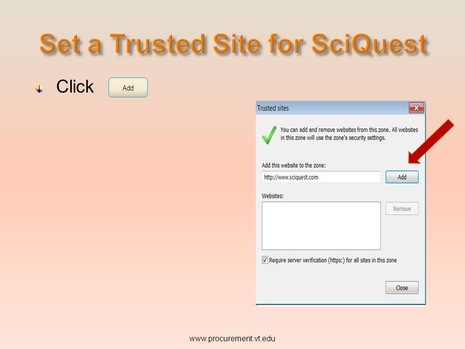 Set a Trusted Site for SciQuest