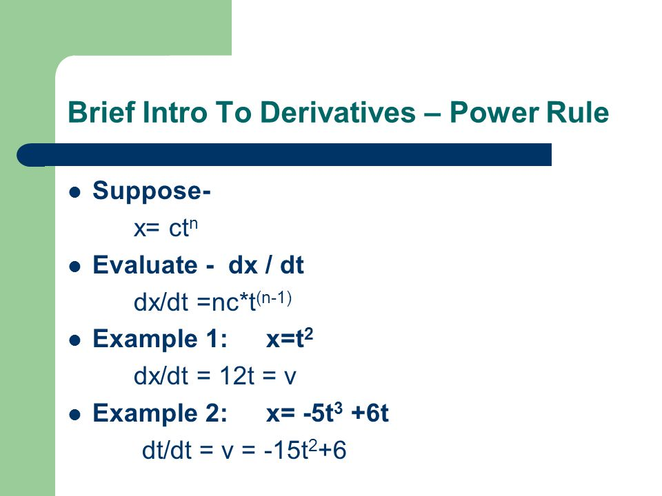 Brief Intro To Derivatives – Power Rule