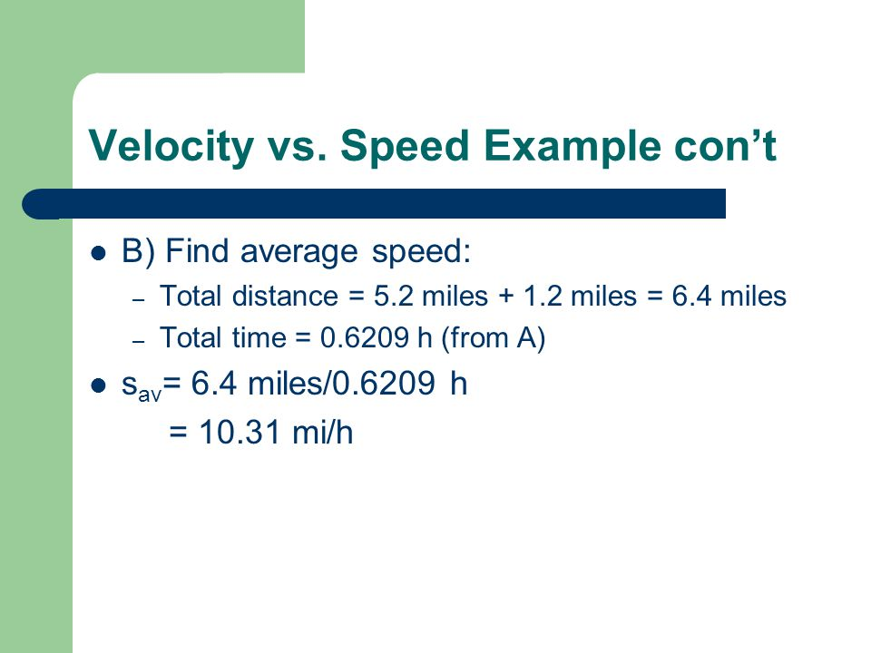 Velocity vs. Speed Example con't