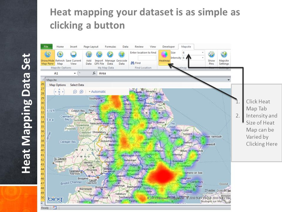 Heat mapping your dataset is as simple as clicking a button