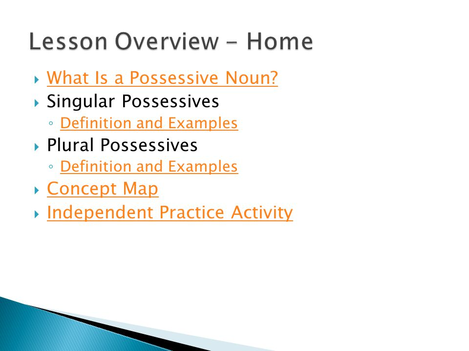 Lesson Overview - Home What Is a Possessive Noun Singular Possessives