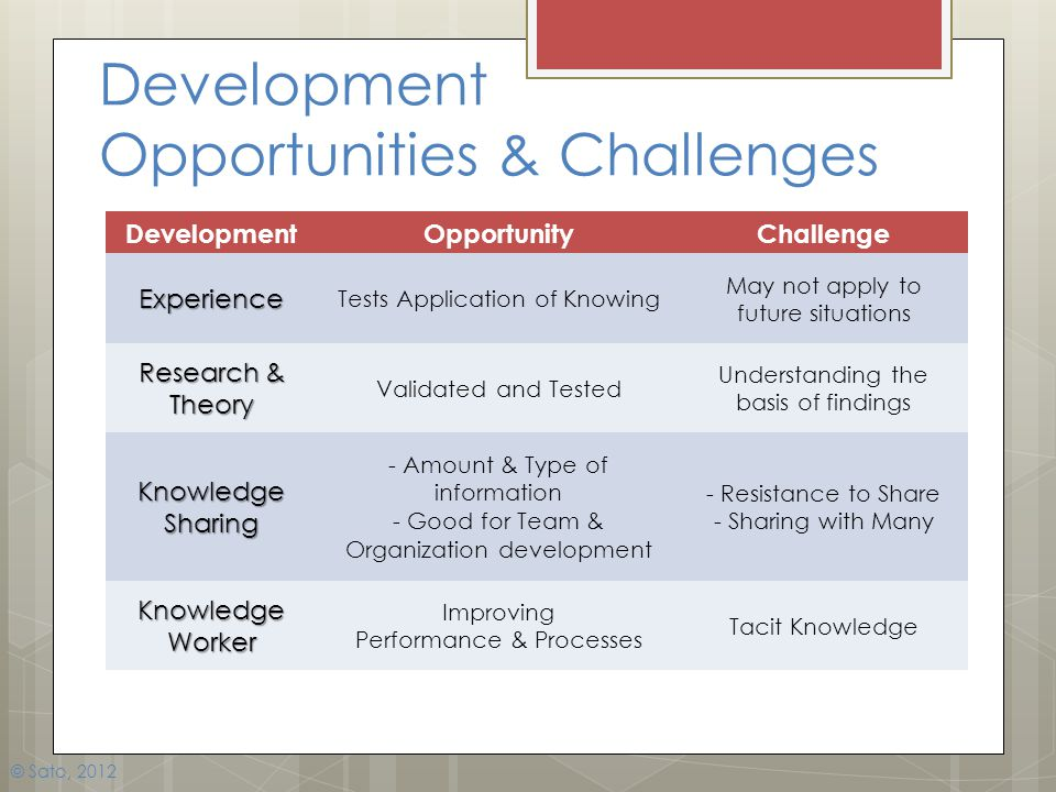 Development Opportunities & Challenges