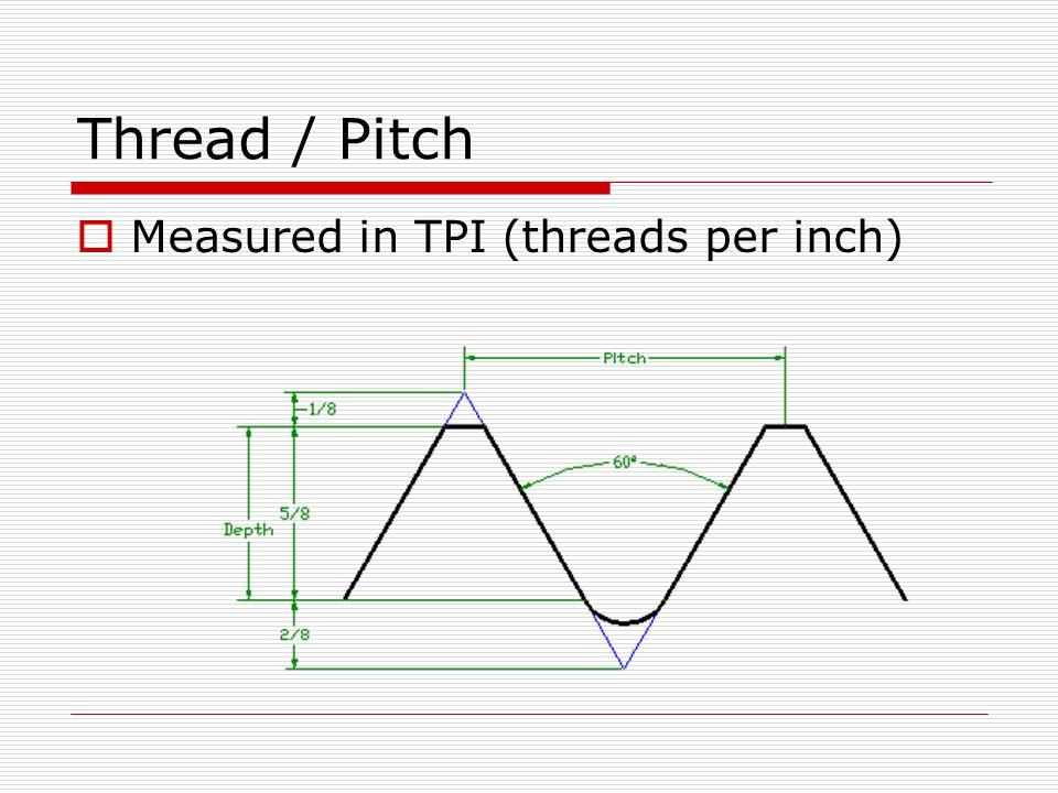Thread / Pitch Measured in TPI (threads per inch)