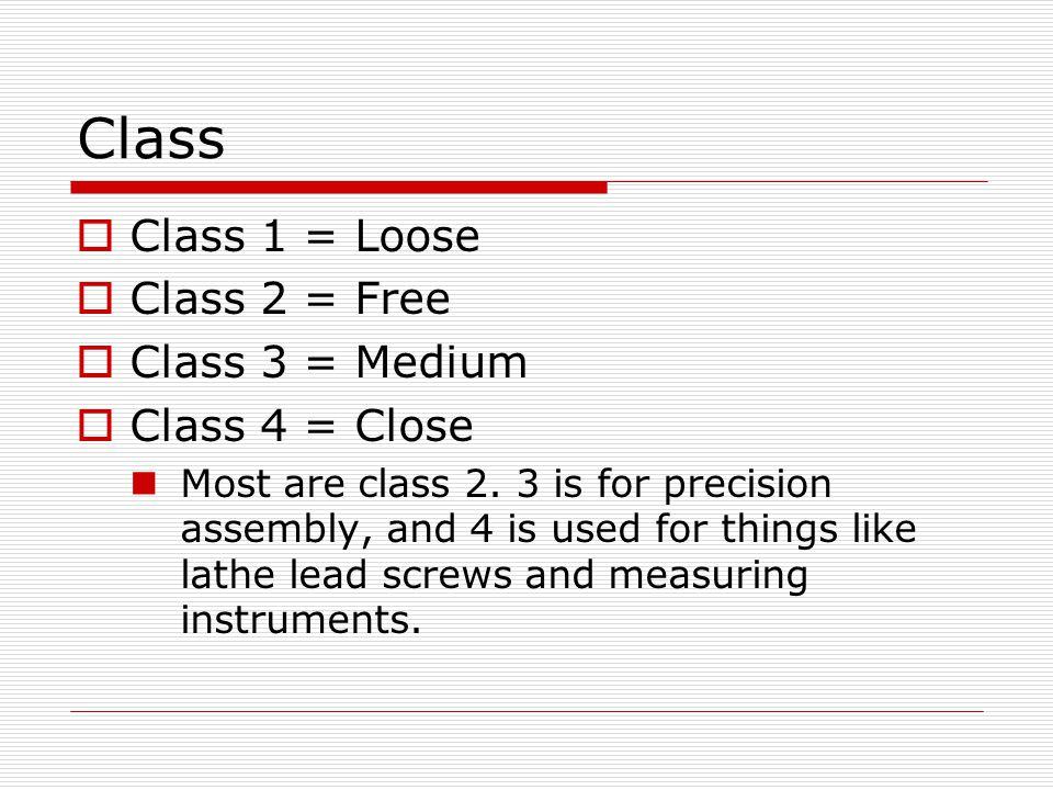 Class Class 1 = Loose Class 2 = Free Class 3 = Medium Class 4 = Close
