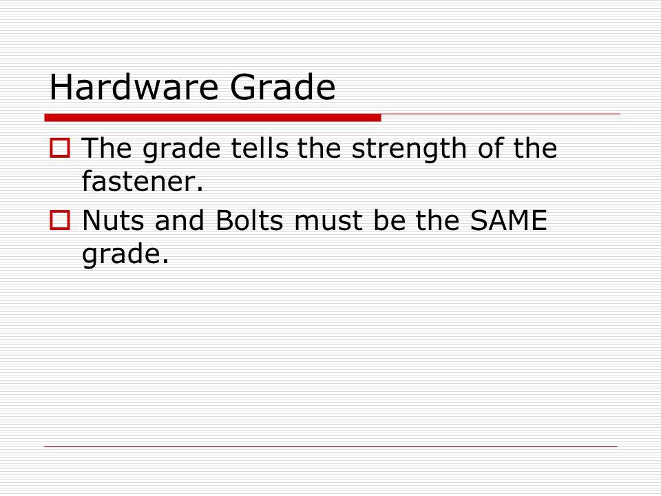 Hardware Grade The grade tells the strength of the fastener.