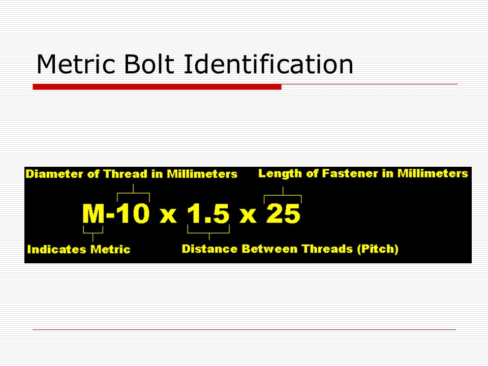 Metric Bolt Identification