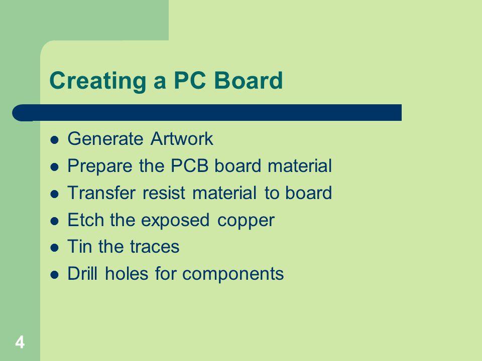 Creating a PC Board Generate Artwork Prepare the PCB board material