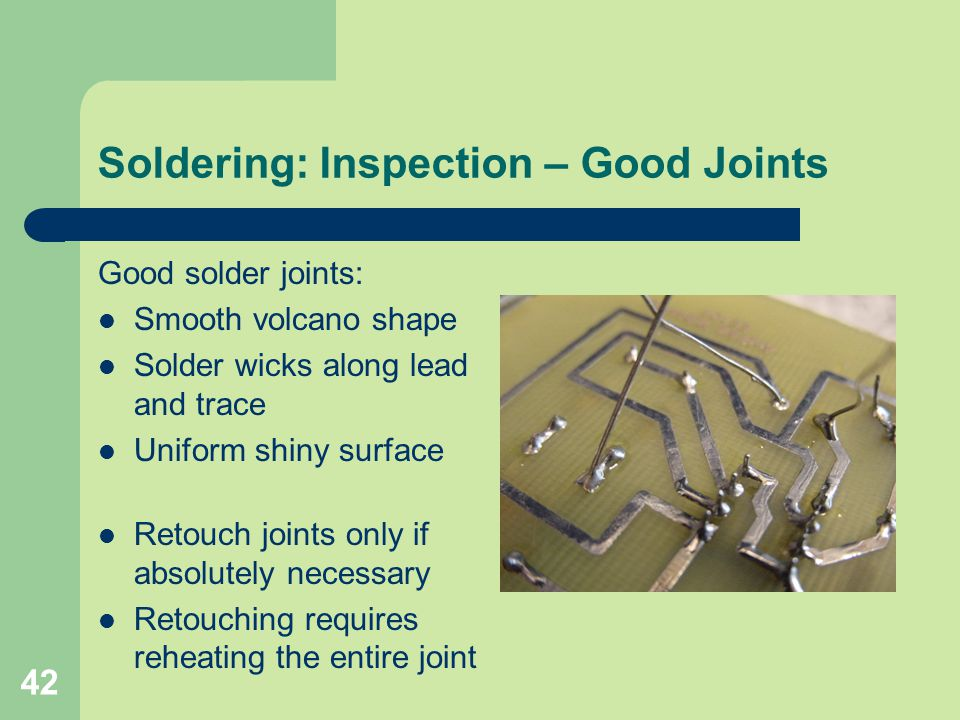 Soldering: Inspection – Good Joints