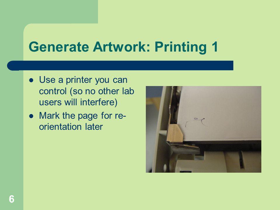 Generate Artwork: Printing 1