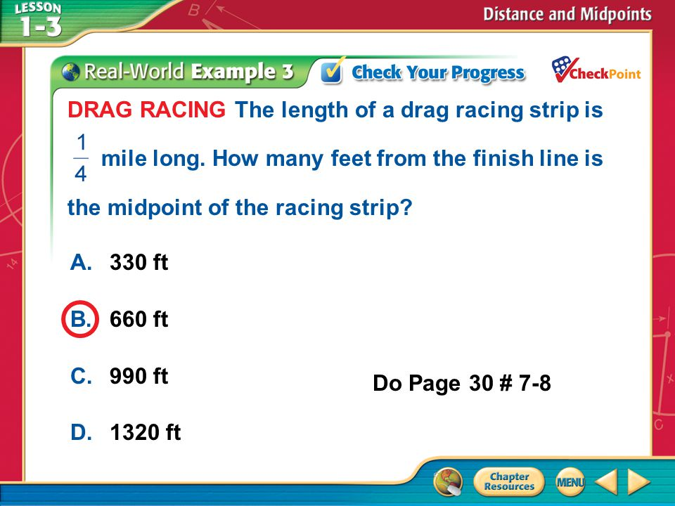 DRAG RACING The length of a drag racing strip is. mile long
