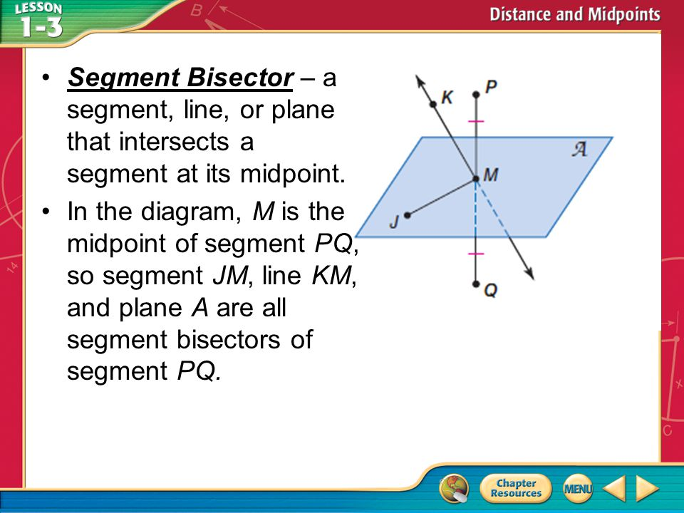 Segment Bisector – a segment, line, or plane that intersects a segment at its midpoint.