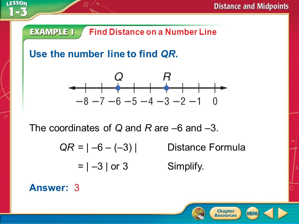 Use the number line to find QR.