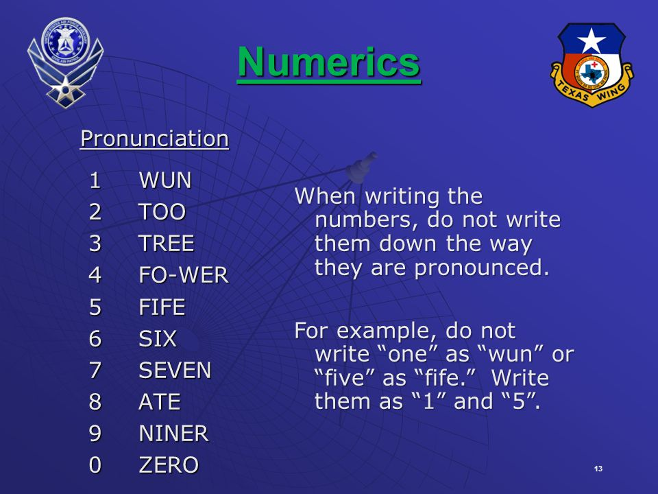 Numerics Pronunciation 1 WUN 2 TOO 3 TREE