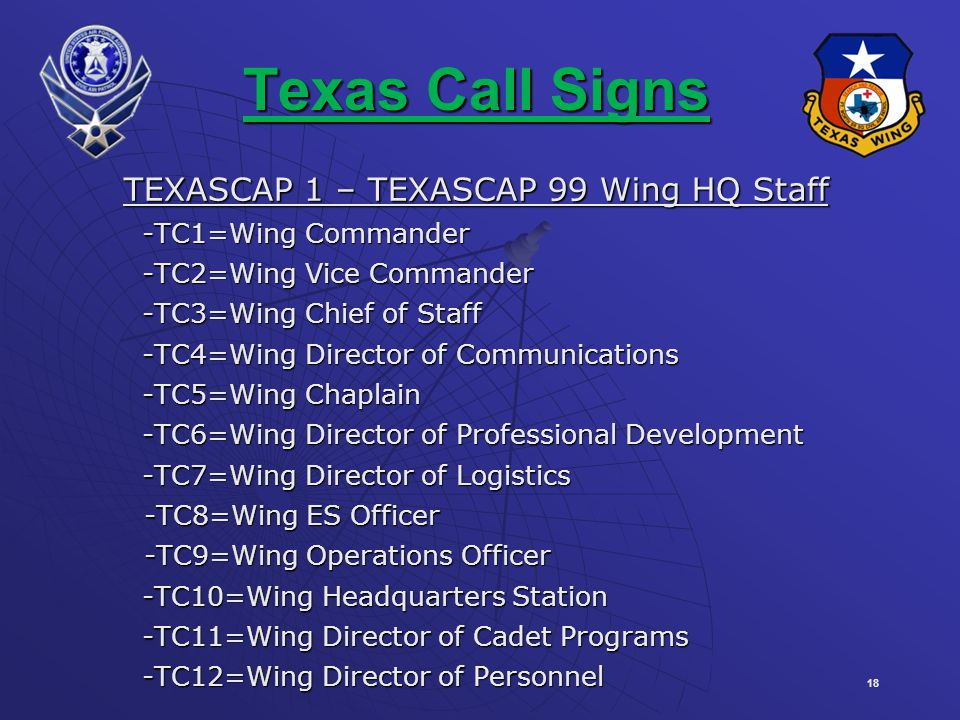 TEXASCAP 1 – TEXASCAP 99 Wing HQ Staff