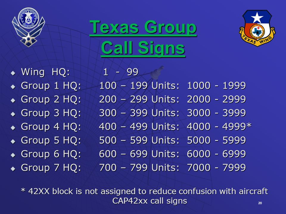 Texas Group Call Signs Wing HQ: