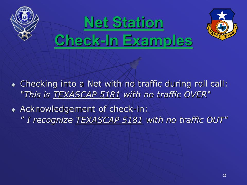 Net Station Check-In Examples