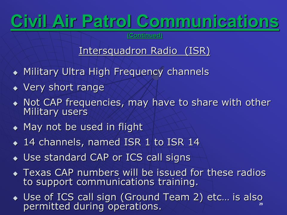 Civil Air Patrol Communications (Continued)