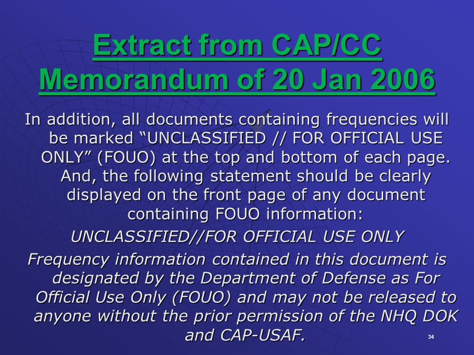Extract from CAP/CC Memorandum of 20 Jan 2006