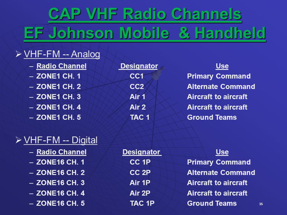 CAP VHF Radio Channels EF Johnson Mobile & Handheld