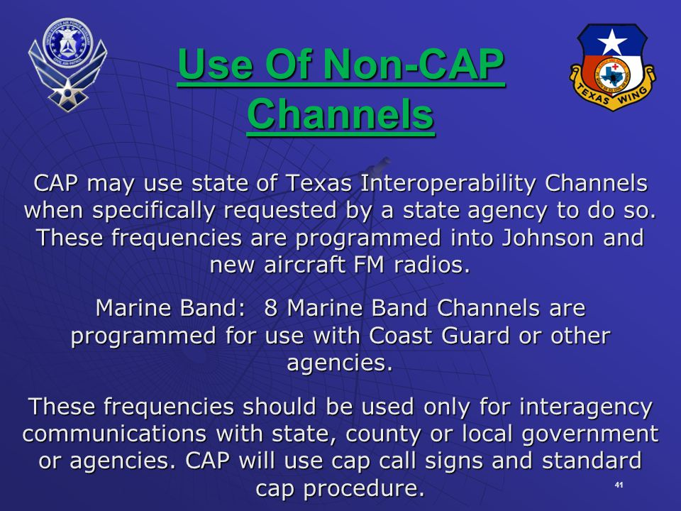 Use Of Non-CAP Channels