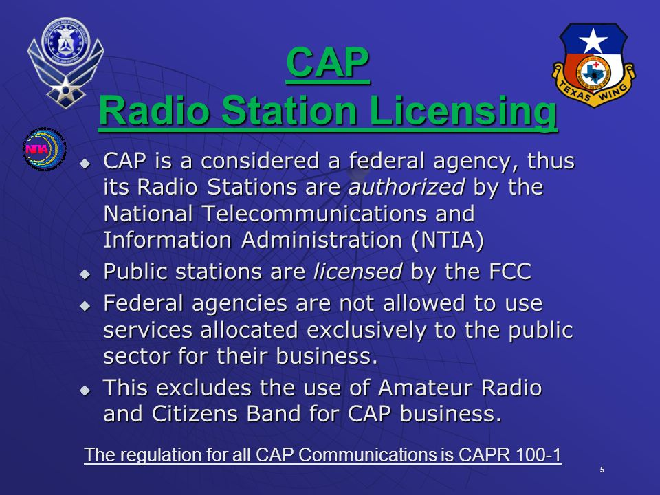 CAP Radio Station Licensing