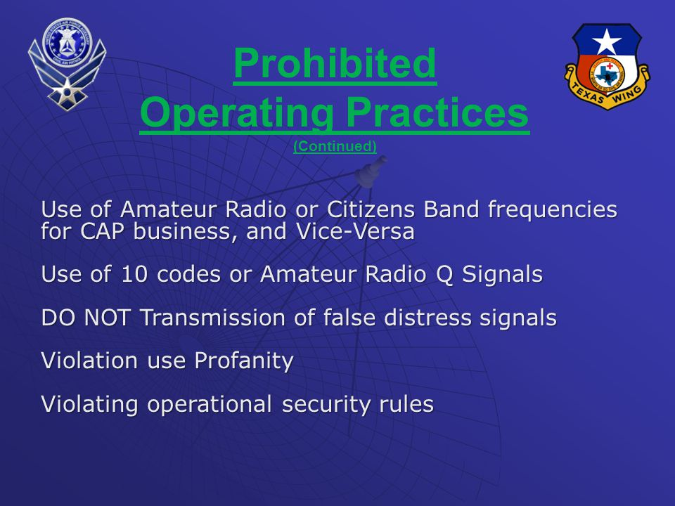 Prohibited Operating Practices