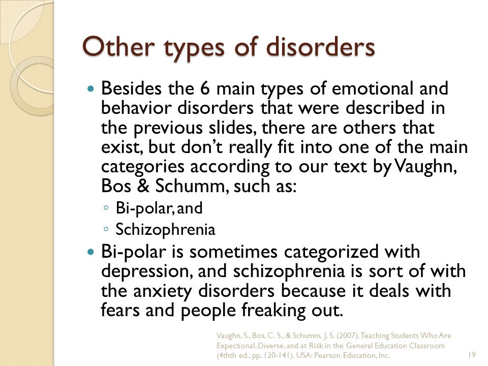 Other types of disorders