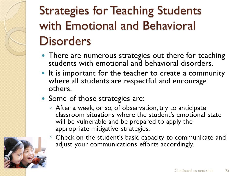 Strategies for Teaching Students with Emotional and Behavioral Disorders