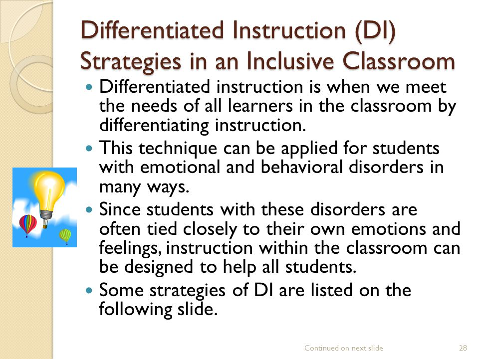 Differentiated Instruction (DI) Strategies in an Inclusive Classroom
